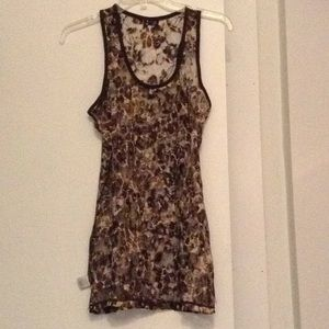 Multi brown lace tank